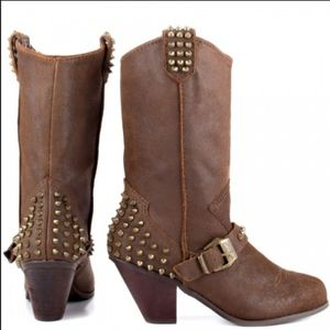 Betsey Johnson Yendell Brown Studded Boots 8M